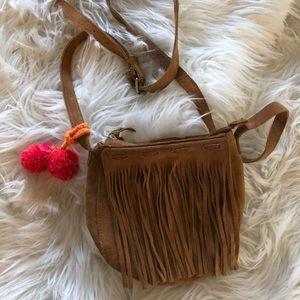 Zara crossbody purse with fringe and Pom pons
